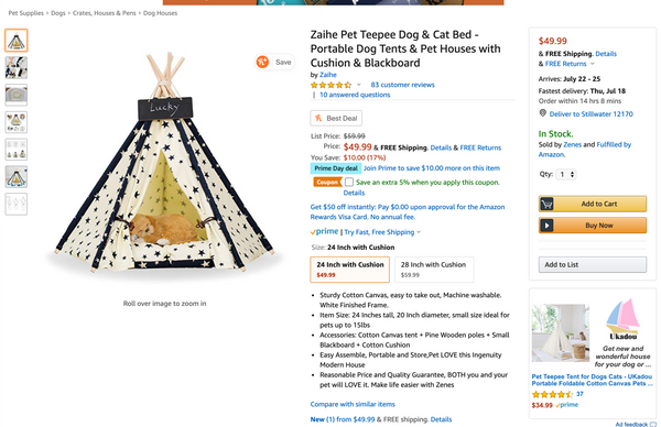 Black and white starred cat and dog teepee listing on Amazon