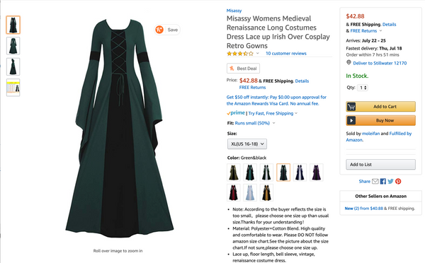 Black and Green Renaissance dress for women cosplay, as listed on Amazon