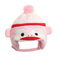 Infant Pink Sock Monkey Hat