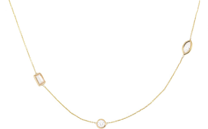 Three Diamond Station Marquise Necklace
