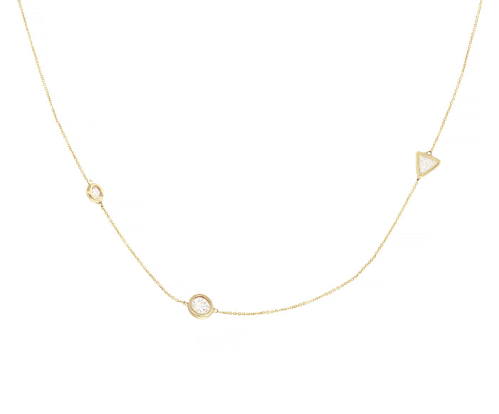 Three Diamond Station Trillion Necklace