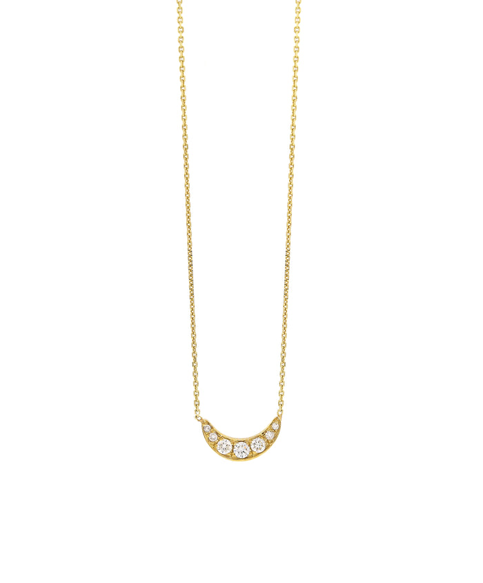 Crescent Diamond Pave Necklace