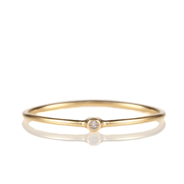 14K Yellow Gold Solitaire Diamond Stack Band