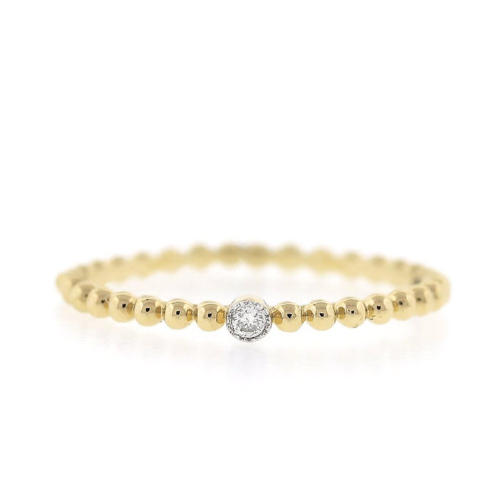 Gold Bead Band with Solitaire Diamond - Yellow Gold