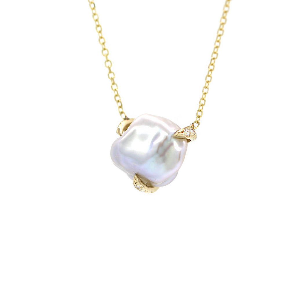 Pearl with Diamond Prongs Necklace