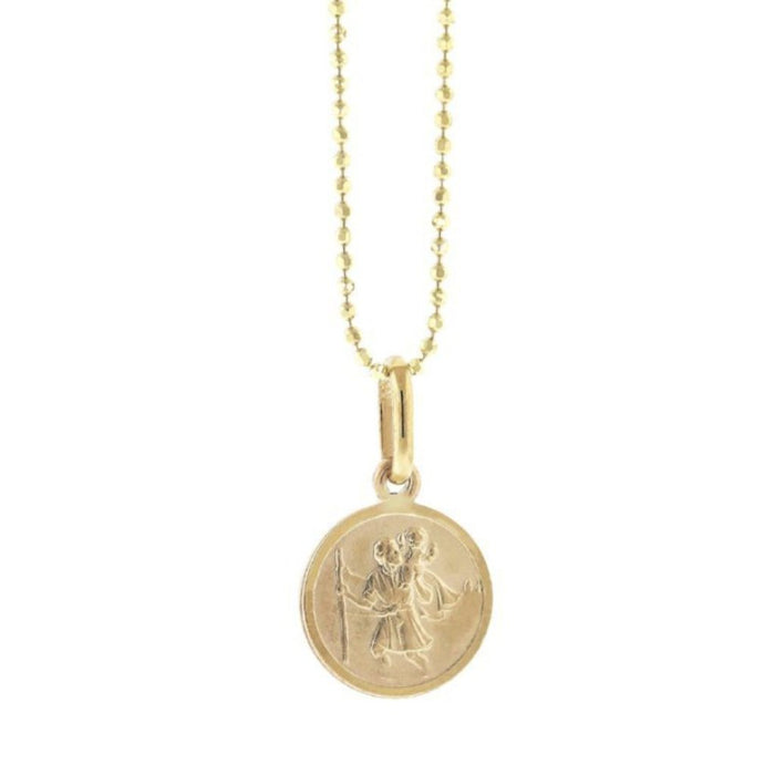Saint Christopher Small Gold Charm Necklace