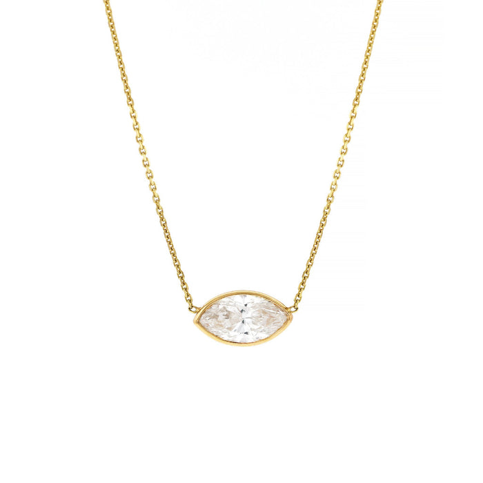 Marquise Diamond Bezel Necklace