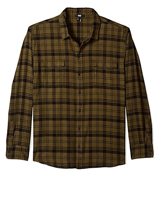 PAIGE Men's Green Everett Brushed Cotton Button Down Shirt