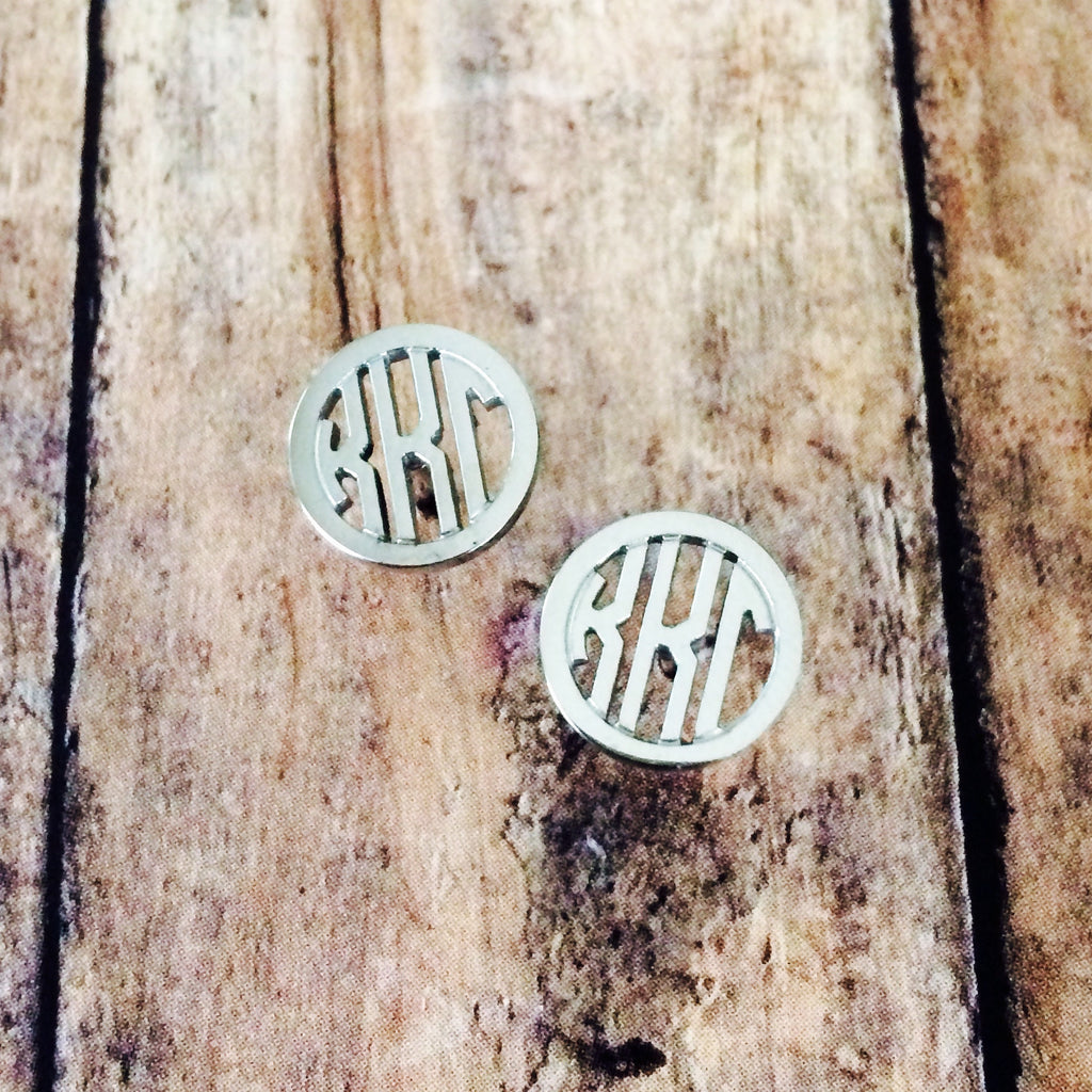 Kappa Kappa Gamma Monogram Style Stud Earrings (Silver)