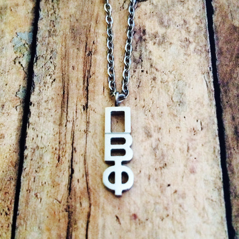 Pi Beta Phi Classic Letter Necklace (Silver)