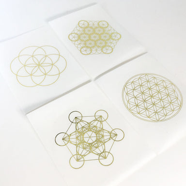 Sacred Geometry Gold on Transparent Stickers