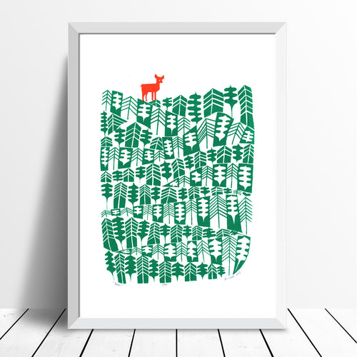Beautifully illustrated print of a little deer in leafy Scandinavian style woodlands with pine trees. Inspired by the green spaces of Richmond Park in London.
