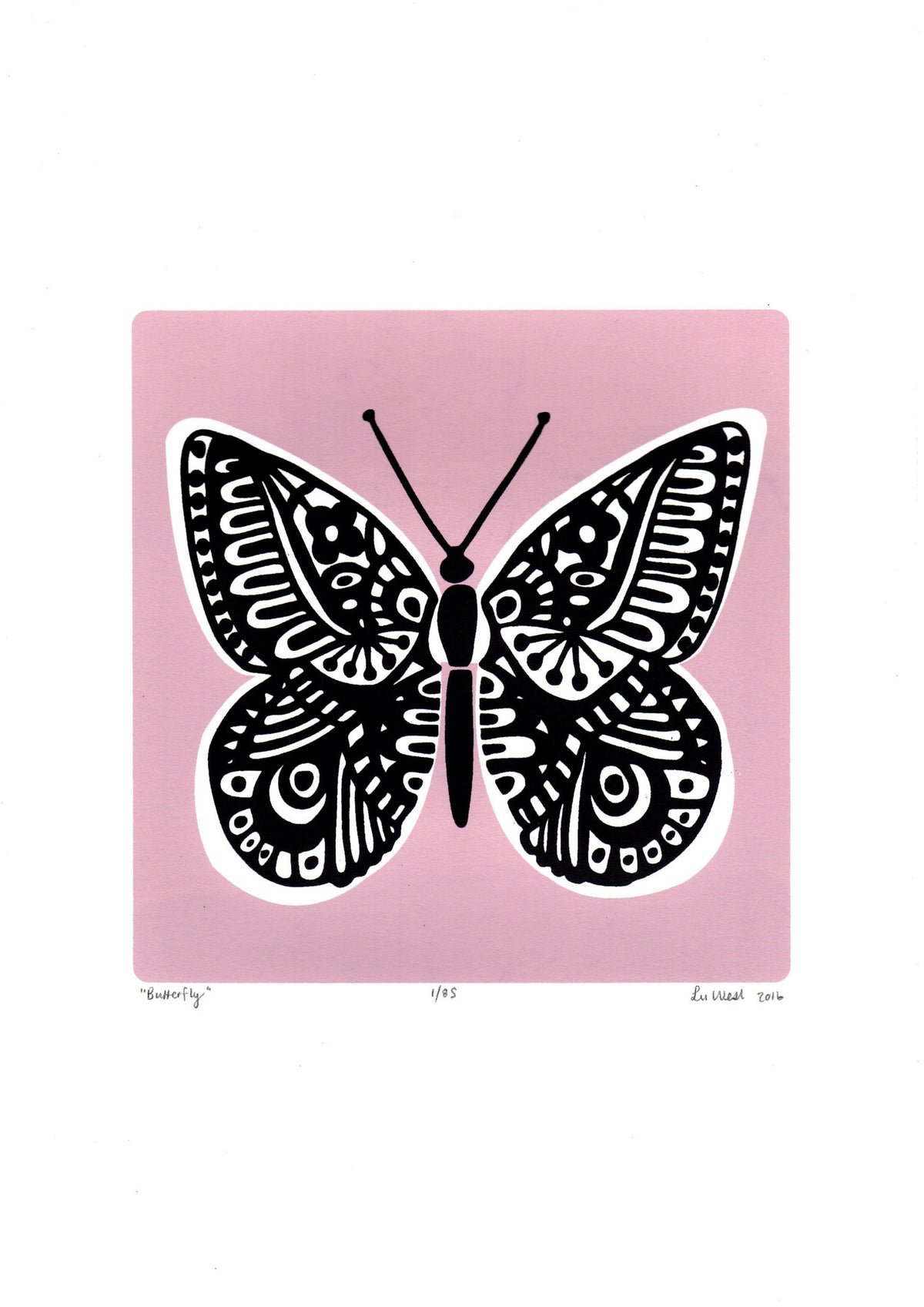 Limited edition Butterfly screen print in powder pink. Illustrated botanical prints in a simple, Scandinavian style.