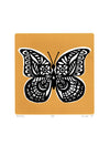 Limited edition Butterfly screen print in saffron yellow. Illustrated botanical prints in a simple, Scandinavian style.