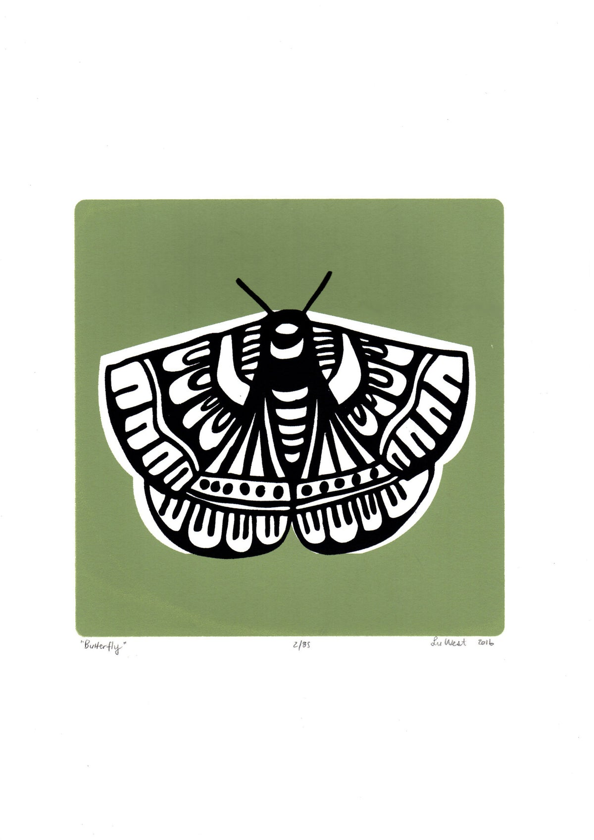 Limited edition Butterfly screen print in sage green. Illustrated botanical prints in a simple, Scandinavian style.