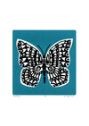 Limited edition Butterfly screen print in slate teal Illustrated botanical prints in a simple, Scandinavian style.
