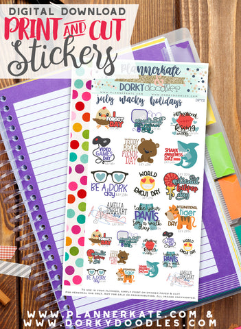 Wacky July Print and Cut Planner Stickers