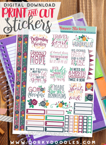 Vacay Mode Print and Cut Planner Stickers