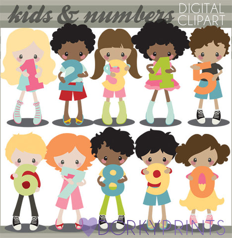 Number Kids School Clipart
