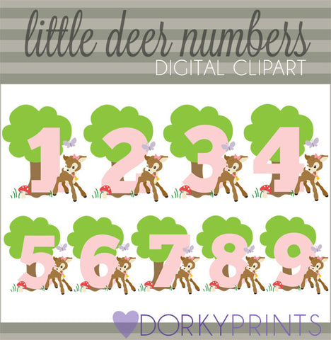 Girl Deer Numbers Symbols Clipart