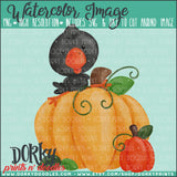 Crow and Pumpkins Watercolor PNG