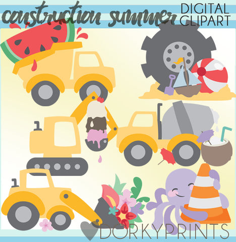 Construction Vehicles Summer Clipart