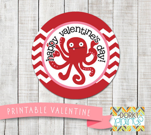 Octopus Valentine Circle Tags Holiday Printables