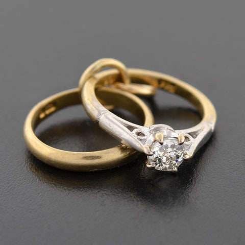 Estate 9kt Diamond Engagement Ring & Band Charm