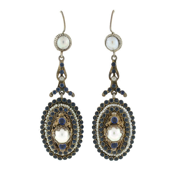 Arts & Crafts Era Austro-Hungarian Sterling Gilt Faux Sapphire & Pearl Earrings