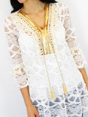 Berties Women's Gold Stud Tunic In White