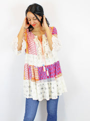 Berties Women's Print Tassel Tunic In Multi Colour