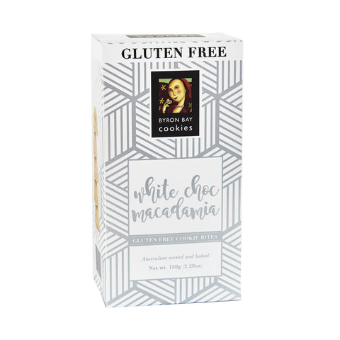 12 x Byron Bay Cookie Luxe Cubes - Gluten Free White Choc Macadamia 150g Biscuits Byron Bay Cookie