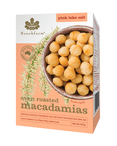 Oven Roasted Macadamias with Pink Lake Salt 12 x 100g Nut Mixes Brookfarm