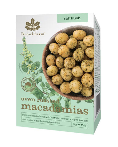 Oven Roasted Macadamias with Saltbush 12 x 100g Nut Mixes Brookfarm