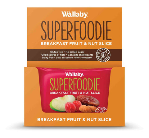 8 x Wallaby Breakfast Fruit & Nut Slices - Apple Raspberry (Gluten Free) Fruit & Nut Slices Wallaby