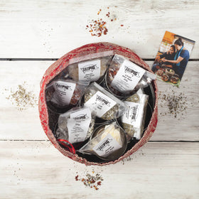 Salt Pigs Flavoured Sea Salts Collection with 7 Flavoured Salts & Handmade Silk Sari Wrap - Spice Kitchen - Spices, Spice Blends, Gifts & Cookware