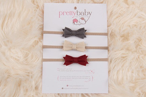 Felt Bows Headband Set B 3pk