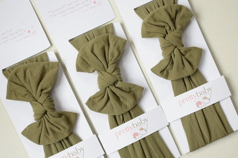 Khaki Top Knot Baby Headband
