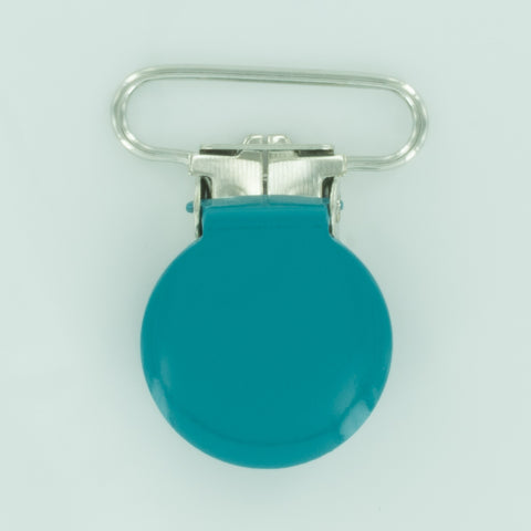 "1"" (25mm) Round Shaped Enameled Metal Clips (B46 - Teal)"