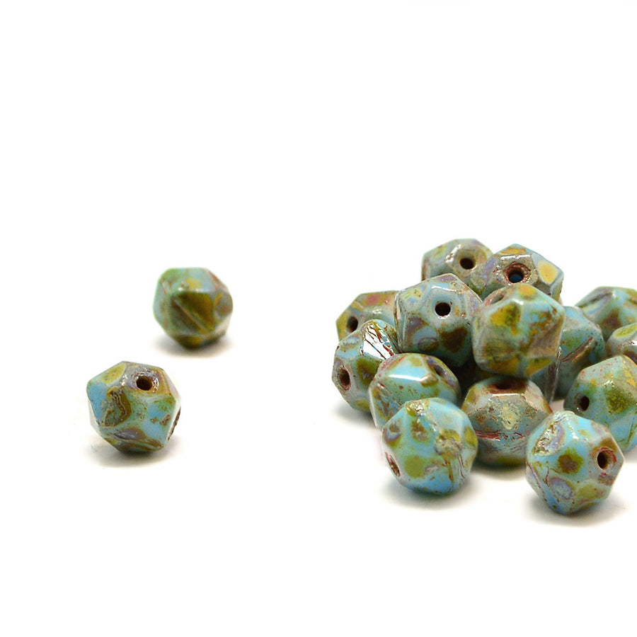 8mm English Cut- Turquoise Blue Picasso