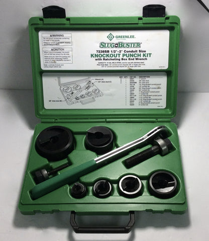 "Greenlee 7238SB Slug Buster Knockout Punch Set Wrench Driver 1/2"" through 2"" Conduit"
