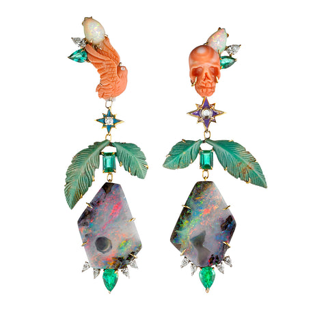 Demeter & Hades | Boulder Opal & Diamond Shoulder Duster Earrings