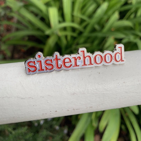 Sisterhood lapel pin - red and white