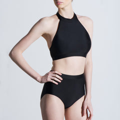 Black halter high neck high waisted lycra sport swim and dance set Balletto Body