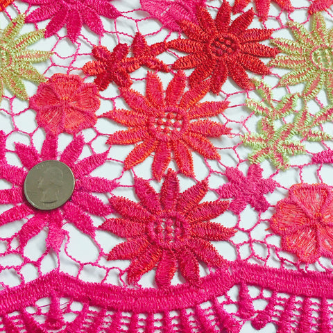 Embroidered Daisy Guipure Lace Orange Pink Gold Multi - NY Fashion Center Fabrics
