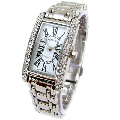 Silver Bracelet Geneva Crystal Bezel Women's Jewelry Watch