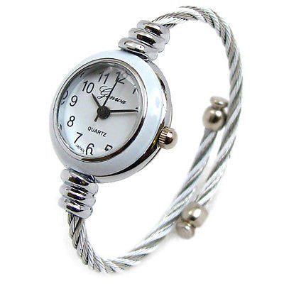 Two Tone White Silver Cable Band Geneva Women's Petite Bangle Cuff Watch