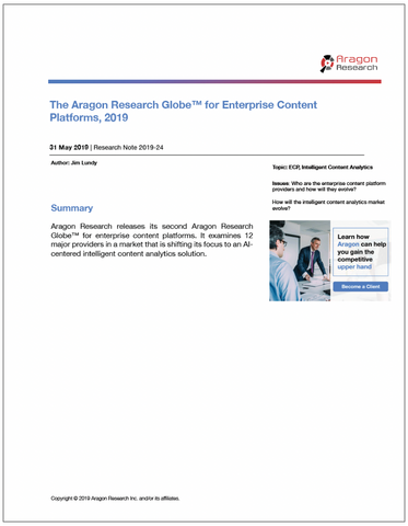 2019-24 The Aragon Research Globe for Enterprise Content Platforms, 2019