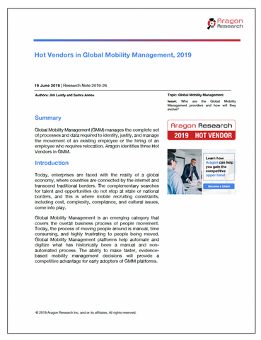 2019-26 Hot Vendors in Global Mobility Management, 2019