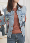 Ripped Patchwork Denim Vest